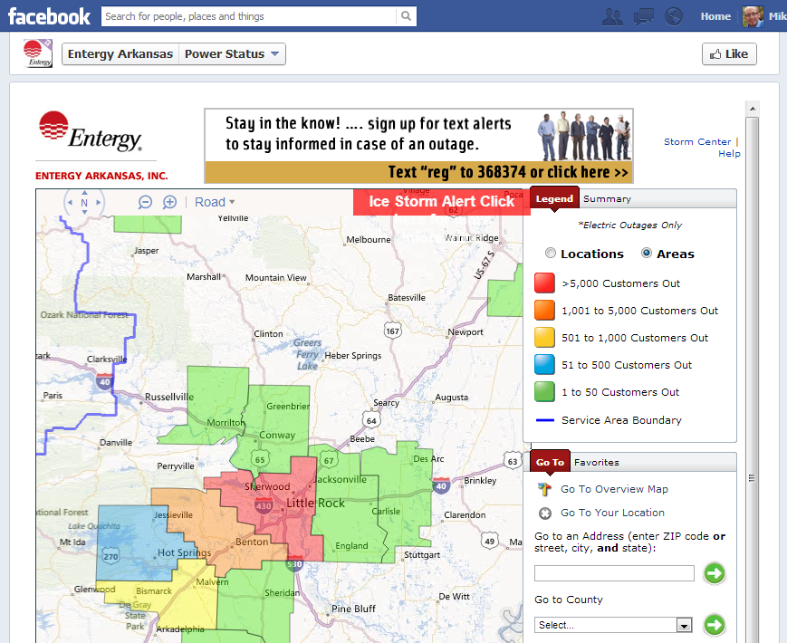 Facebook Tab listing Outages - Uses TabSite