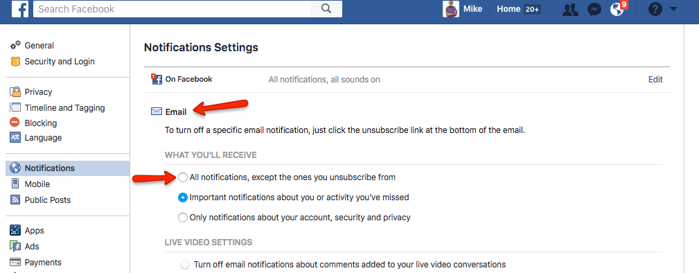 CONSUELO: Facebook email notifications not working