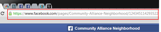 Above: Example of a Page that has not set its username.