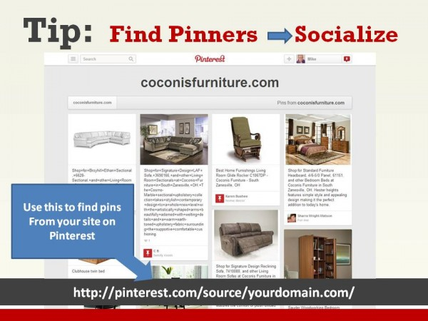 Find pins from your website on Pinterest