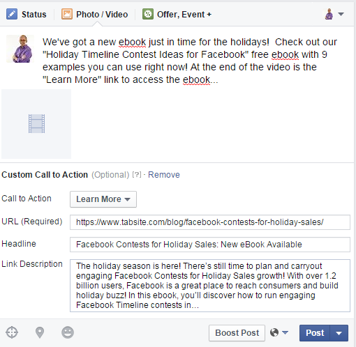 Setup  Facebook Video call to action