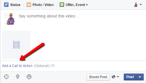 Call to Action option when Uploading a Video to Facebook