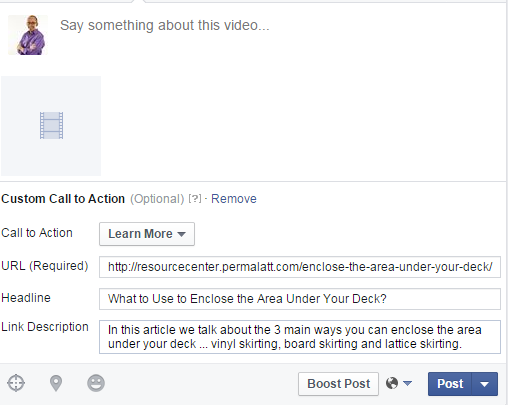 Learn More Call to Action with the URL details that can be Edited before Posting