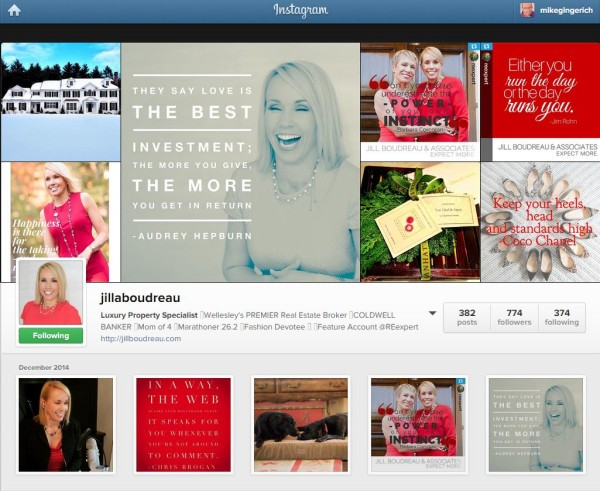 Jill's Instagram account displays her branding and the authentic Jill!