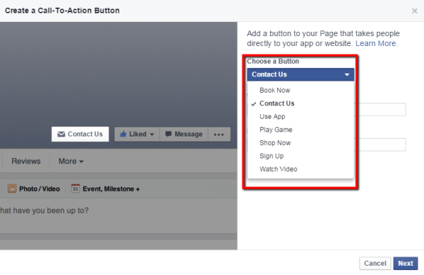 setup facebook page call to action