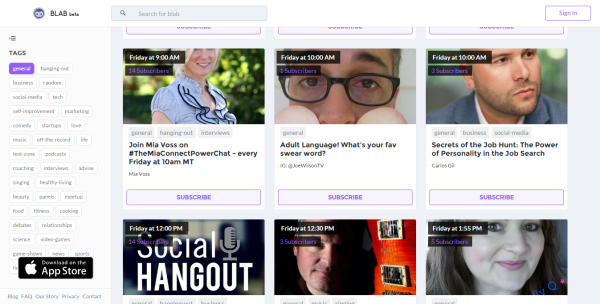 Blab Video Streaming and Chat Tool