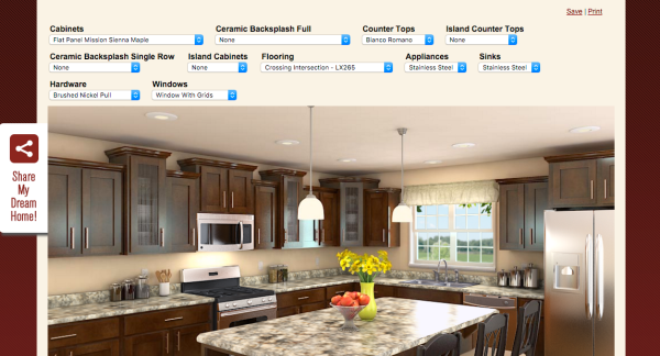 Create your own custom kitchen with this tool! It makes it fun and easy for visitors to make selections and ultimately helps them select you to build their dream home and kitchen!
