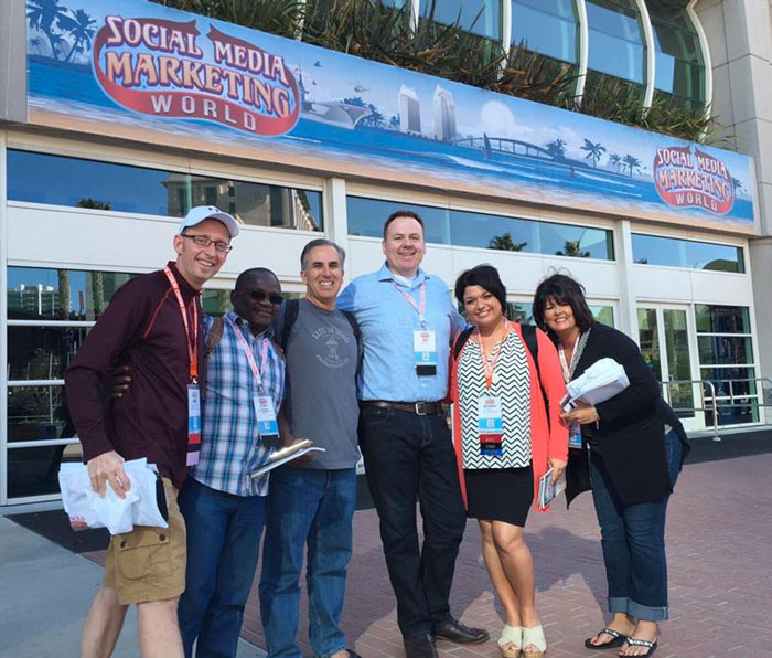 social media marketing world 2016 mike stelzner jed record mike gingerich jessika phillips
